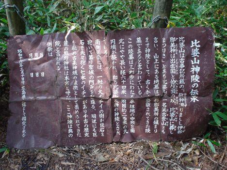 比婆山御陵の説明板