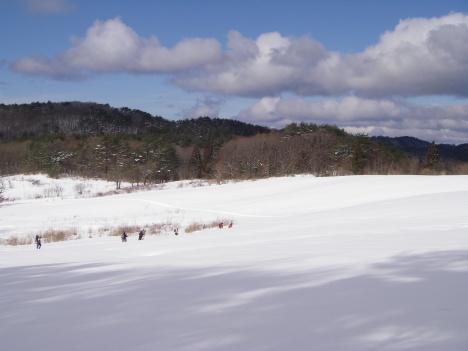 大雪原を登る