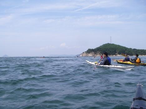 荒れた水面での練習