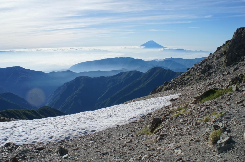 間ノ岳雪渓と富士山